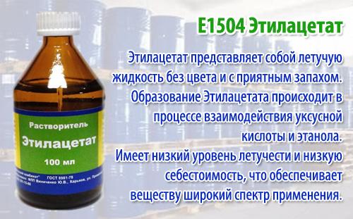 E1504 Этилацетат - действие на здоровье, польза и вред, описание.