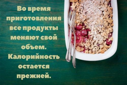 Расчет калорийности во время приготовления блюда