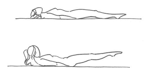 Подъем ног (проработка мышц шеи, пресса)