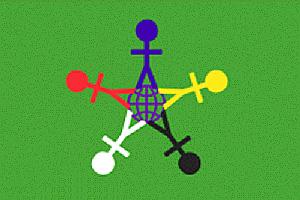 На зеленом фоне изображен схематично земной шар и 5 разноцветных фигурок людей.