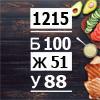 Рацион на 1215 ккал на 4 приема пищи (Б/Ж/У: 100/51/88)
