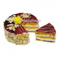 Торт Постный с лимоном и малиной