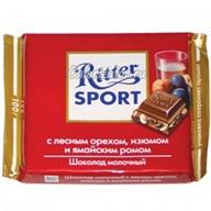 Шоколад Ritter Sport молочный с орехом, изюмом и ямайским ромом