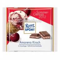 Шоколад Ritter Sport молочный с вишней Амарена