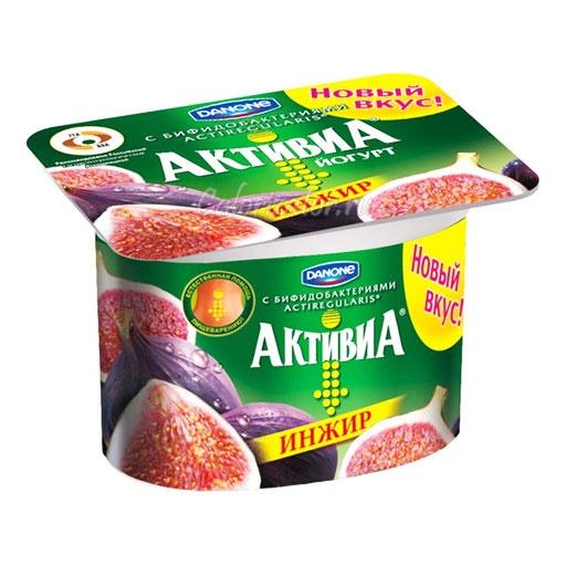 Йогурт Активиа Инжир - калорийность, полезные свойства, польза и вред, описание.