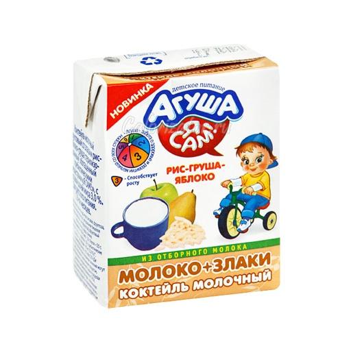 Коктейль молочный Агуша Я Сам! рис-груша-яблоко