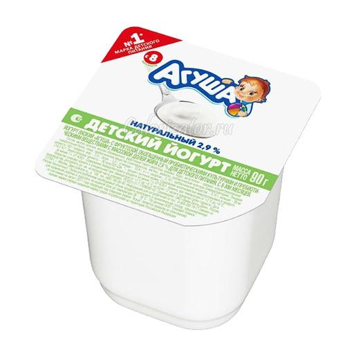 Йогурт Агуша детский натуральный 2. 9% - калорийность, полезные свойства, польза и вред, описание.