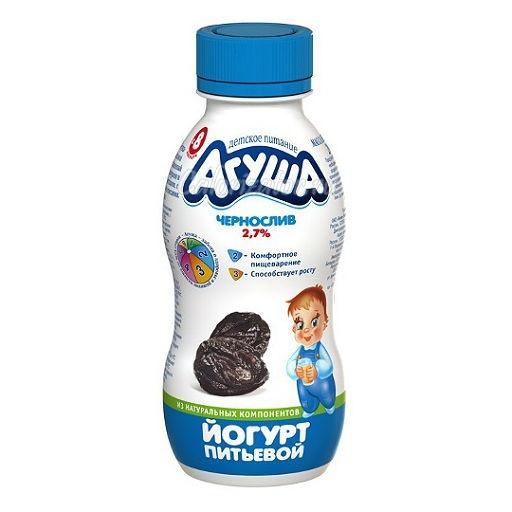 Йогурт Агуша питьевой с черносливом 2. 7% - калорийность, полезные свойства, польза и вред, описание.