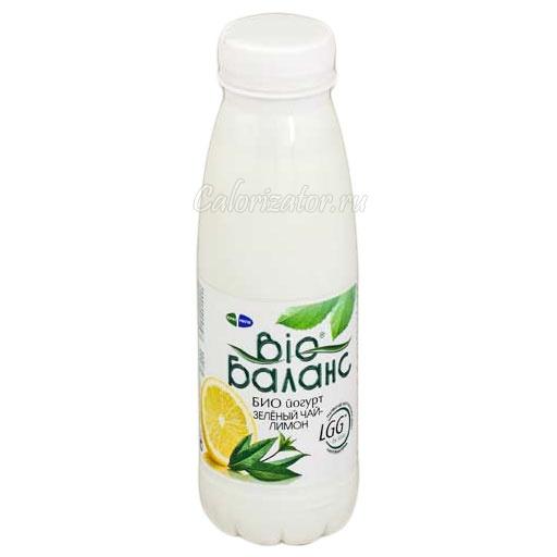 Йогурт Био Баланс Зелёный чай-лимон - калорийность, полезные свойства, польза и вред, описание.