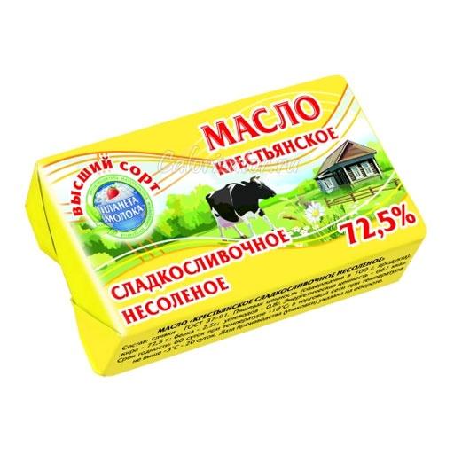 Масло сливочное крестьянское несолёное 72.5%