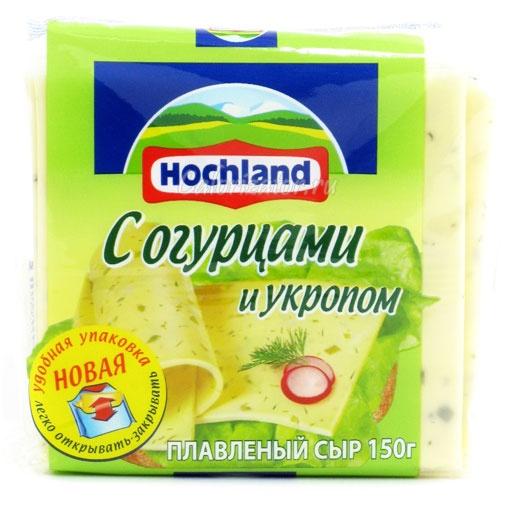 Сыр Hochland плавленый с огурцами и укропом ломтики