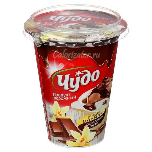 Творожный продукт Чудо со вкусом ванили с шоколадным соусом