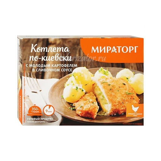 Котлета Мираторг по-киевски с молодым картофелем в сливочном соусе