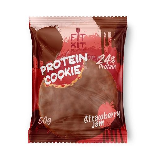 Печенье FITKIT Choco Protein Cookie Strawberry Jam (Клубничное Варенье)
