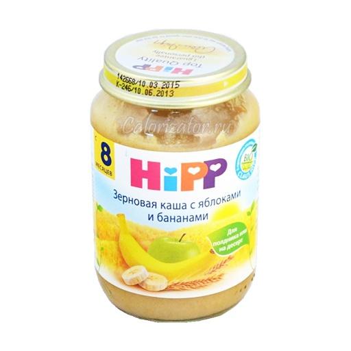 Зерновая каша Hipp с яблоками и бананами - калорийность, полезные свойства, польза и вред, описание.