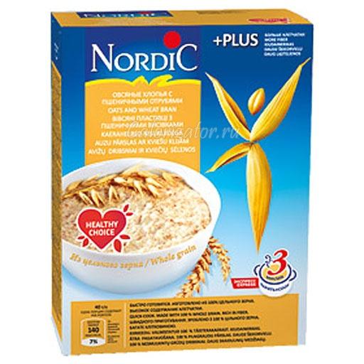 Овсяные хлопья Nordic с пшеничными отрубями