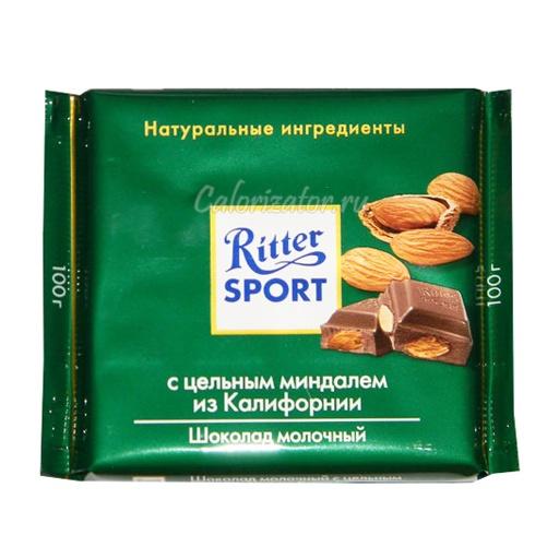 Шоколад Ritter Sport молочный с миндалем из Калифорнии