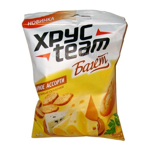 Сухарики Хрусteam Багет сырное ассорти