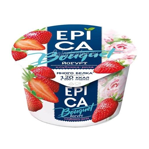 Йогурт Epica Bouquet Клубника-роза - калорийность, полезные свойства, польза и вред, описание.