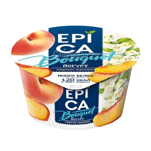 Йогурт Epica Bouquet Персик-жасмин - калорийность, полезные свойства, польза и вред, описание.