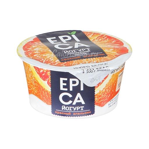Йогурт Epica Красный апельсин - калорийность, полезные свойства, польза и вред, описание.