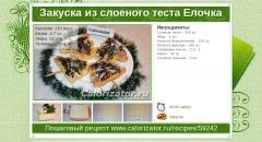Закуска из слоеного теста Елочка