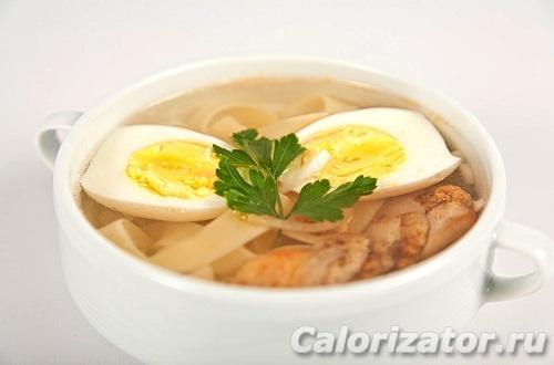 Куриный суп с яйцом и тофу