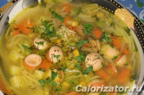 Суп с сардельками