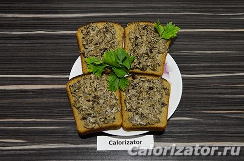 Бутерброды с грибной икрой - как приготовить, рецепт с фото по шагам, калорийность.