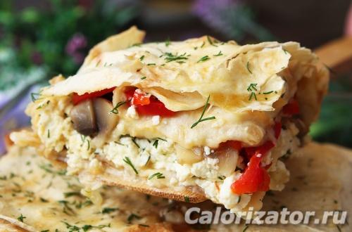 Пирог из лаваша с творогом и овощами