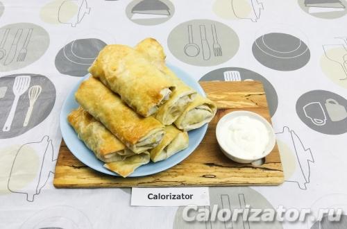 Ленивые пирожки из лаваша с курицей и грибами