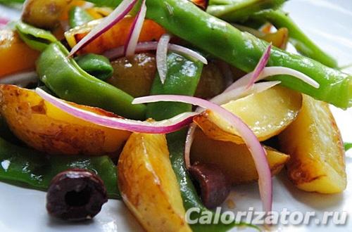 Салат с фасолью и печеным картофелем