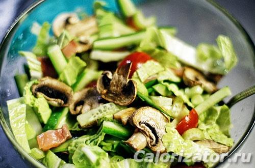 Салат из семги и шампиньонов