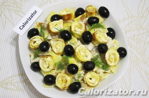 Салат с блинами Гурман