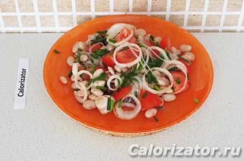 Салат из фунчозы и фасоли
