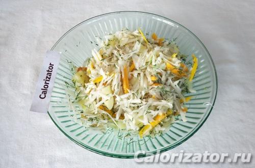 Овощной салат с белой редькой
