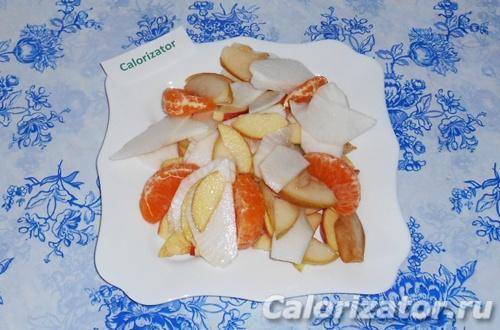 Салат из репки, яблок и груш