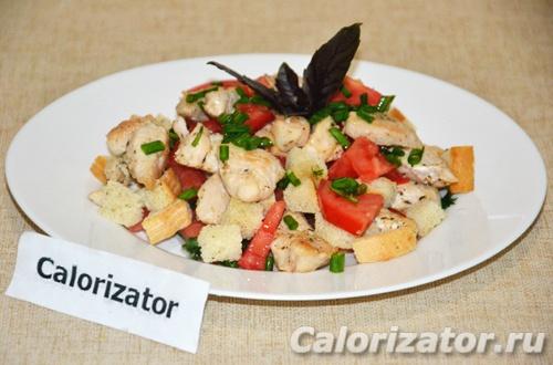 Салат с куриным филе и помидорами