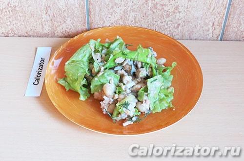 Салат с горбушей и фасолью