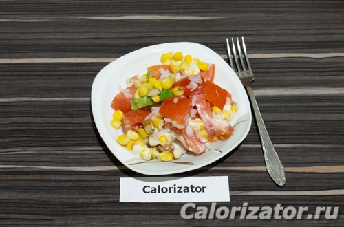 Салат из риса и авокадо с миндалем