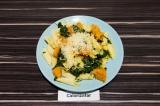 Готовое блюдо: паста с тыквой и шпинатом