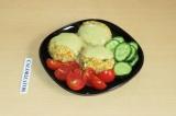 Готовое блюдо: котлетки из чечевицы и риса