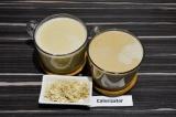 Готовое блюдо: кофе с халвой и кокосовым молоком