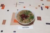 Готовое блюдо: гречневый крем-суп с копченостями