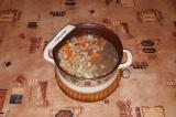 Шаг 5. Добавить нарезанные овощи в бульон, дать покипеть в течение 10-15 минут.