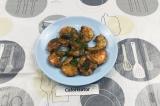Готовое блюдо: креветки в соевом соусе