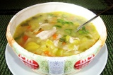 Готовое блюдо: куриный суп с овощами