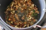 Шаг 7. Добавить зелень и вино. Затем добавить куриный бульон.