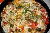 Готовое блюдо: цветная капуста с овощами в аэрогриле