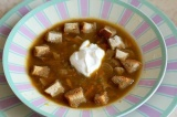 Готовое блюдо: суп из сушеных грибов